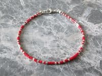 Red & Silver Seed Bead Friendship Stacker Bracelet | Silver Sensations